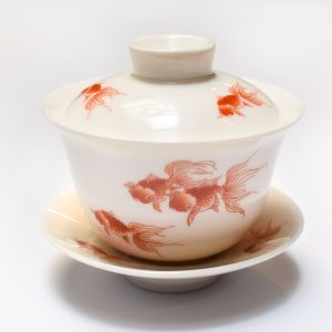 White Porcelain GaiWan Tea Cup and Saucer Set (Gold Fish)