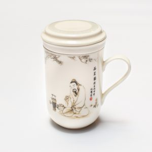 Porcelain Infuser Cup (Sage Enjoying Tea)