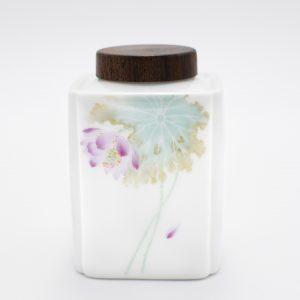 Porcelain Tea Canister (Lotus Flower)