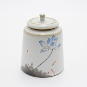 Ceramic Tea Canister (Blue Lotus Flower)